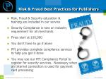 risk fraud best practices for publishers
