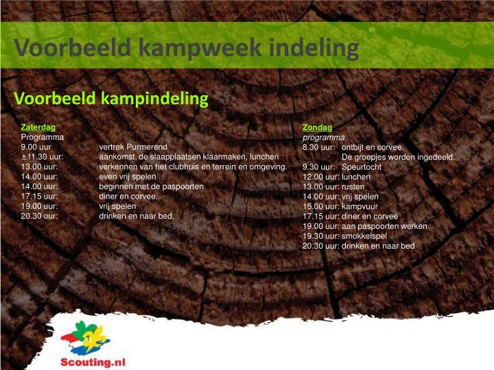 Voorbeeld kampweek indeling