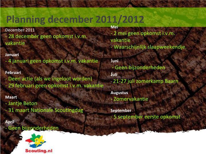 Planning december 2011/2012