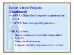 benefits from projects continued