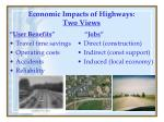 economic impacts of highways two views