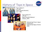 history of toys in space