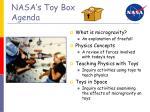 nasa s toy box agenda