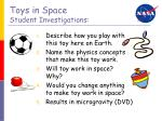 toys in space student investigations