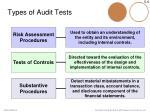 types of audit tests