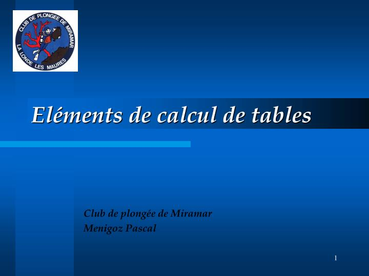 el ments de calcul de tables n.