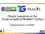 climate simulation on the teragrid apgrid pragma testbed demonstration at sc2003