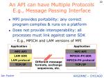 an api can have multiple protocols e g message passing interface
