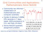 grid communities and applications mathematicians solve nug30