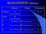 bilan sportif seniors