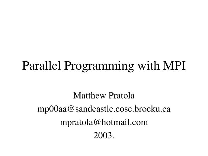 parallel programming with mpi n.