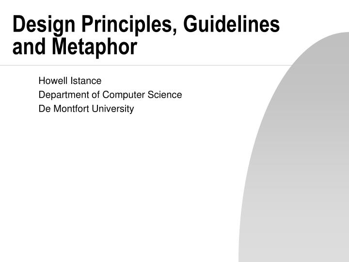 design principles guidelines and metaphor n.