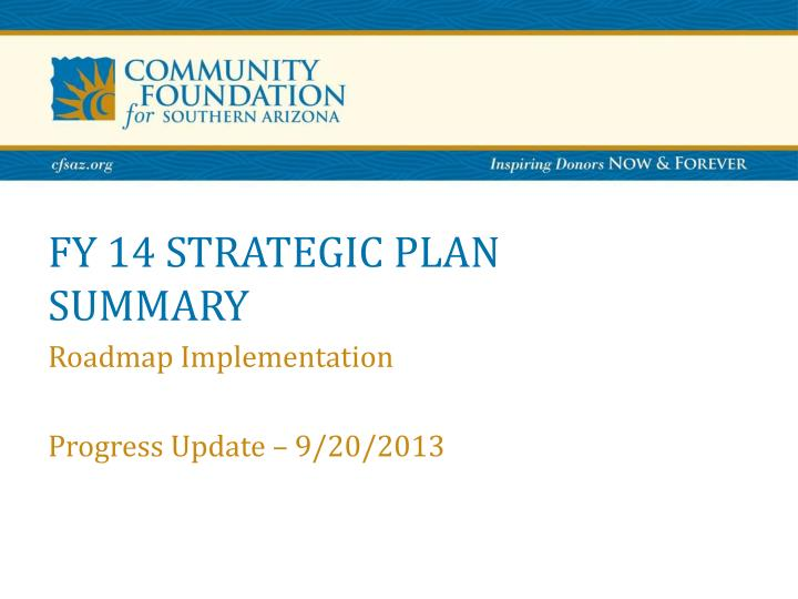 fy 14 strategic plan summary n.