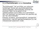 i 1 2 psychotherapie versus counseling