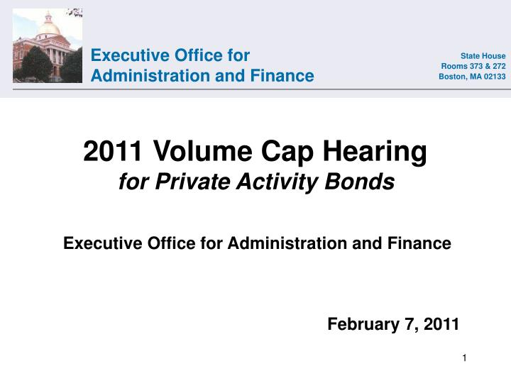 2011 volume cap hearing for private activity bonds n.