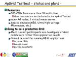 apgrid testbed status and plans