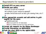 requirements for resource providers