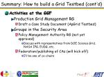 summary how to build a grid testbed cont d1