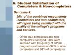 6 student satisfaction of completers non completers