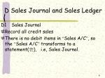 d sales journal and sales ledger