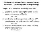 objective 4 improved laboratory and human resources health systems strengthening