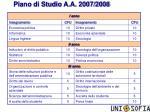 piano di studio a a 2007 2008