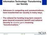 information technology transforming our society