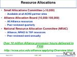 resource allocations