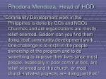 rhodora mendoza head of hcdi