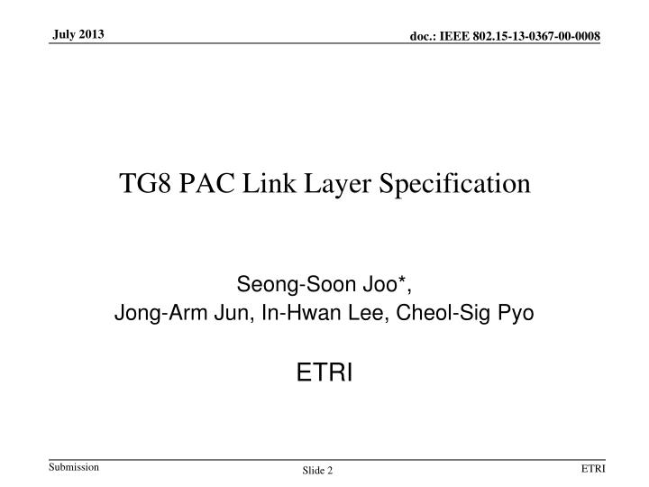 Tg8 pac link layer specification