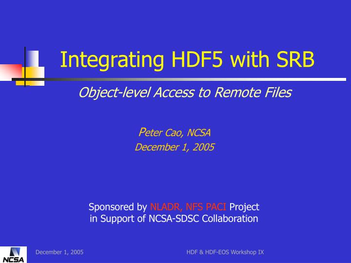 integrating hdf5 with srb n.