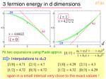 3 fermion energy in d dimensions