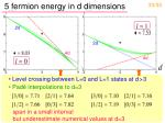 5 fermion energy in d dimensions