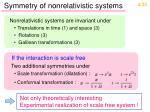 symmetry of nonrelativistic systems