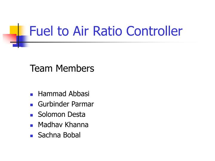 fuel to air ratio controller n.