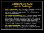 categories of acm used in buildings