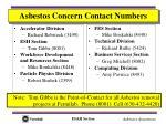 asbestos concern contact numbers