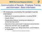 communication of hazards employee training and information basic information