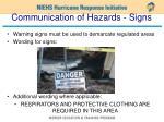 communication of hazards signs