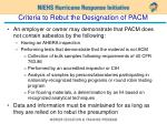 criteria to rebut the designation of pacm