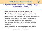 employee information and training basic information cont d