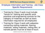 employee information and training job class specific requirements