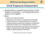 initial exposure assessment