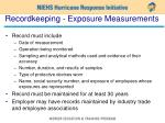 recordkeeping exposure measurements