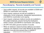 recordkeeping records availability and transfer