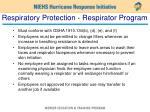 respiratory protection respirator program