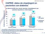 caprie datos de clopidogrel en pacientes con diabetes