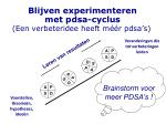 blijven experimenteren met pdsa cyclus