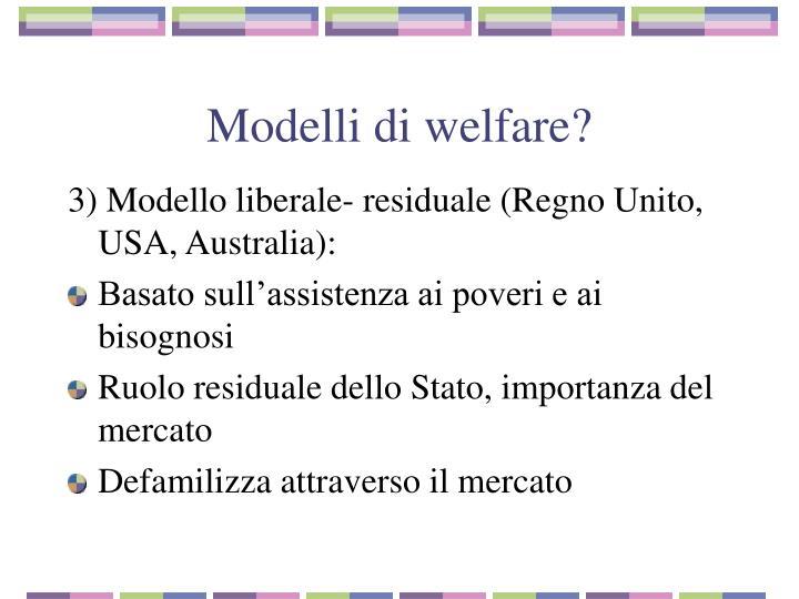 Modelli di welfare?