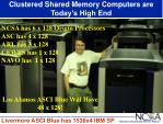 clustered shared memory computers are today s high end